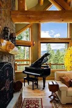 Just because my dream home log cabin will not be complete without a grand piano.nice lighting, wood and stone details.fireplace, piano and a cozy place to sit and listen.and what a view! The Piano, Home Interior, Interior Design, Cozy Place, Home And Deco, Room Lights, Log Homes, My Dream Home, Great Rooms