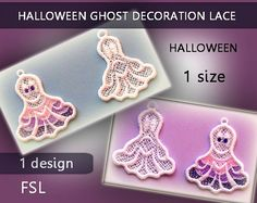 Ghost lace halloween decorations -4x4hoop - FSL - Machine embroidery…