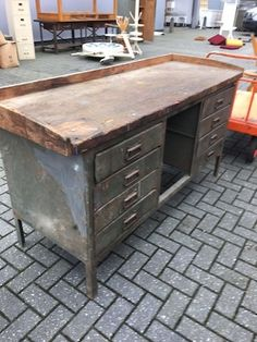 vintage industrial czech workbench 1940s #1404