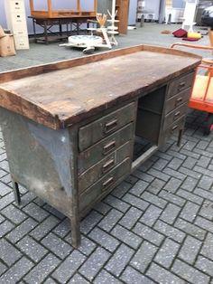 vintage industrial czech workbench 1940s #1404