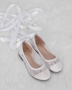 e027d812de2 Girls Shoes - Ballerina White New Lace Flats With Satin Ribbon Lace Up   weddingshoes Converse