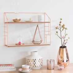Wandregal aus Metall kupferfarben LULEA - hats for women Decor, Copper Bedroom, Interior, Rose Gold Room Decor, Metal Wall Shelves, Home Decor, Room Inspiration, Gold Bedroom Decor, Bedroom Decor