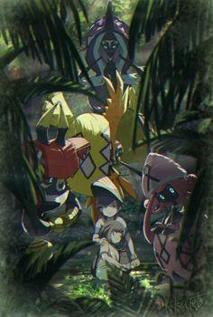 Trainers Sun & Moon and the Tapus Pokemon Moon, Pokemon Fan Art, Pokemon Alola, First Pokemon, Pokemon Special, Play Pokemon, Pokemon Stuff, Original Pokemon, Pokemon Comics