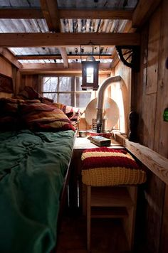 wood house in snow inside