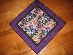Table Topper Purple Blue Orange Pink Paisley and $38 by TahoeQuilts