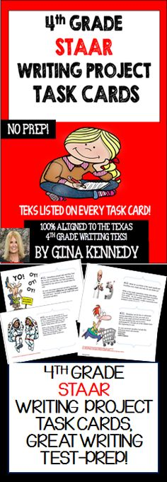 "With the ""4th Grade STAAR Writing Project Task Cards"" your students will be provided with twenty-five writing projects that are directly aligned to the 4th Grade Texas Writing TEKS. Each project includes a fun and creative expository or narrative writing prompt with follow-up directions for the students to incorporate specific writing TEKS into the projects. The task cards are perfect for advanced learners, early finishers or whole class fun. Laminate, bundle and you have the perfect....$"
