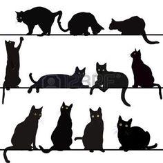 Conjunto de siluetas de gatos photo