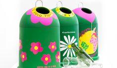 Mini-contenedores de flores para reciclar vidrio
