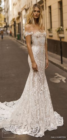 Gali Karten 2019 Wedding Dresses - Paris Bridal Collection Gorgeous Embroidered Off Shoulder Mermaid Wedding Dress Mermaid Wedding Dress With Sleeves, Fitted Lace Wedding Dress, Lace Dress With Sleeves, Perfect Wedding Dress, Best Wedding Dresses, Mermaid Dresses, The Dress, Bridal Dresses, Trendy Wedding