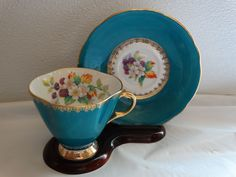 BEAUTIFUL BLUE TURQUOISE TEAL COLOR CLARENCE TEA CUP & SAUCER SET LOVELY AWESOME