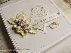 card with heart heart vintage shabby chic roses leaves ribbon bow DIY card Dorota_mk