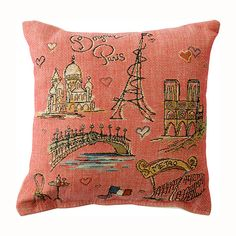 "unique pillows | ... FRENCH HOME DECOR > French Pillows > ""Bonjour Paris"" Decorative Pillow"