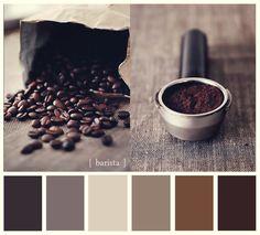 barista tones Colour Pallete, Neutral Palette, Colour Schemes, Color Combos, Color Mix, I Love Coffee, Coffee Art, Coffee Shop, Coffee Poster