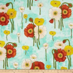 Michael Miller Vignette Gathered Poppies Aqua - Discount Designer Fabric -  Fabric.com