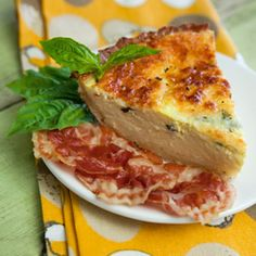 A little bit of Italy in a prepared pie shell with crispy pan-fried panchetta on the side.