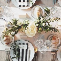 Emerald Jewelry black & white striped napkins with green accents simple and beautiful How much do you think this costs? Wedding Events, Our Wedding, Dream Wedding, Wedding Bells, Flowers Instagram, Striped Wedding, Wedding Decorations, Table Decorations, Centerpieces