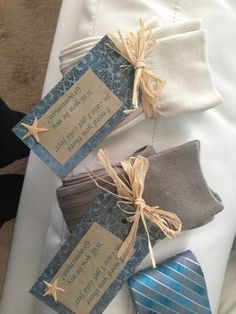 """Made these to ask the groomsmen: Pair of socks with a tag saying """"I need you there in case I get cold feet. Will you be my groomsman?"""""""