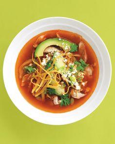 An awesome recipe for Mexican Chicken Tortilla Soup - Spicy base plus seal-the-show toppings.
