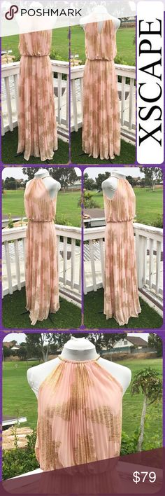"""Gold Embossed Pleated Peach Chiffon Evening Gown Stunning maxi dress from XSCAPE with gold-tone stretch necklace collar and lobster clasp. Sleeveless evening gown in peach polyester chiffon with gold embossed flowers throughout. Lined. Size Large or 12. Measures 19"""" across the chest and 60"""" in length. Only Flaws are 1 tiny snag on the front near waistline (barely visible) and lobster clasp needs a little polishing. A gorgeous evening gown! Xscape Dresses Prom"""