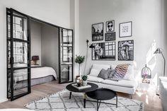 Scandinavian living room with glass doors