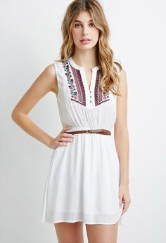 Embroidered Gauze Belted Dress | Forever 21 Canada