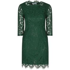 **Alice & You Olive Scallop Lace Dress ($70) ❤ liked on Polyvore featuring dresses, green, green dress, zipper dress, army green dress, lace dress and lace sleeve cocktail dress
