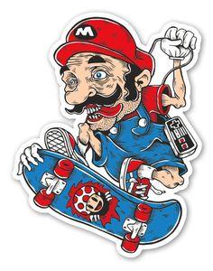Buy 'Skater MARIO' by Digital-Market as a Sticker, Transparent Sticker, or Glossy Sticker Collage Background, Skateboard Art, Graffiti Art, Cartoon Graffiti, Laptop Decal, Pop Art, Art Drawings, Mario, Street Art