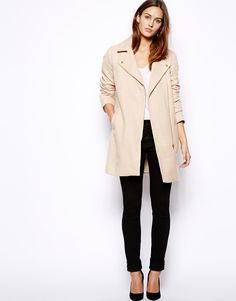 Oasis Neutral Biker Coat at ASOS