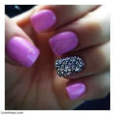 Purple nails with glitter nail art cute nails glitter nail purple creative pretty nails nail ideas nail designs