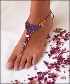 Macrame and Brass Barefoot Sandal,Red and Blue Nude shoes,Foot jewelry, sexy yoga bellydance anklet jewelry on Etsy, $45.00
