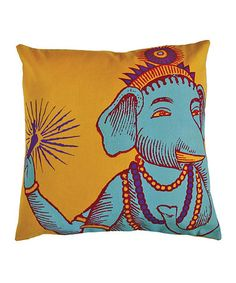 Take a look at this Yellow Ganesh Print Square Bazaar Pillow by Koko Company on #zulily today!