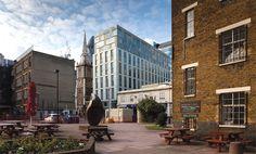 Dorsett City London | Dorsett Hospitality International | Aldgate | Little Somerset Street | hotel design | four star | business hotel | limestone | glass Hotel Architecture, Hotel Branding, London City, Somerset, Hospitality, Street View, Star, Business, Places