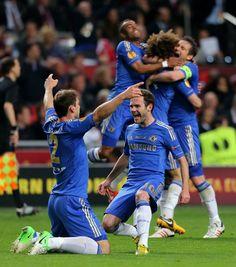 Ivanovic and Juan Mata celebrate his goal