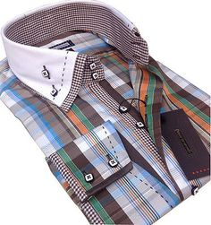 New Mens Smart Casual Blue Green Brown Orange White Double Collar Slim Fit Shirt