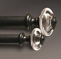 Estate Crystal Knob Finials Oil-Rubbed Bronze (Set of 2)