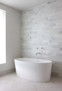 Modern Bathroom - love the gray tiles, would be great with a white tile wall at each side for a shower. #bathroomideas #homedecor #interiors