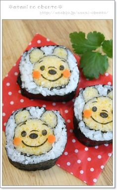 So, some genius combined Winnie the Pooh and sushi. Kawaii Bento, Cute Bento, Disney Themed Food, Disney Food, Edible Food, Edible Art, Cute Food, Yummy Food, Sushi Art