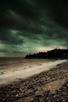 Landscape Photography Nature Green Nova Scotia Canada Ocean Dark Beach 8x12 Print Metallic Paper- Dawn of Tomorrow. $28.00, via Etsy. 享受孤獨。