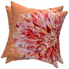 Room Essentials™ 2-Piece Outdoor Decorative Pillow Set - Orange Flame Flower