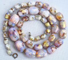 Vintage Czech Venetian Bohemian opalescent fire foil glass bead necklace lovely