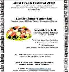 Mini Greek Festival: November 8-10, 2012