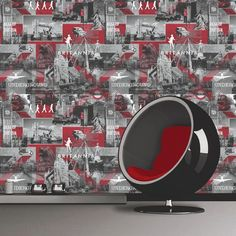 Muriva Britannia Black, White & Red Wallpaper - http://godecorating.co.uk/muriva-britannia-black-white-red-wallpaper-2/