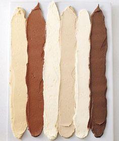 Stripes of cake frosting