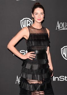 Caitriona Balfe wore House of Lavande Vintage earrings to the InStyle Golden Globes party