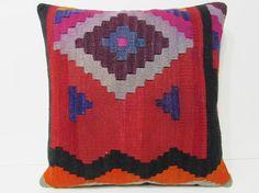Turkish cushion 24x24 throw pillow kilim pillow case decorative pillow outdoor floor sham bohemian decor boho ethnic tribal accent rug 21478