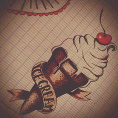 Oldscool icecream ice cream,  tattoo  old school tattoo  oldschool: