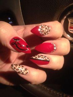 Stiletto nails. Red nails. Leopard nails. Animal print nails. Sexy nails. Valentine's Day nails.