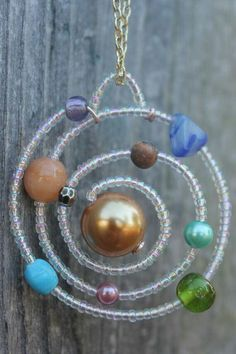 Solar System Necklace by LeBeadeau on Etsy Wire Jewelry, Jewelry Crafts, Beaded Jewelry, Jewelery, Jewelry Necklaces, Bracelets, Systems Art, Vbs Crafts, Beads And Wire