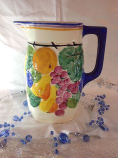 Vintage Czech Peasant Pottery Bern Pitcher with Flowers | eBay