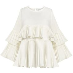 White Pleated Tier Ruffled Top ($79) ❤ liked on Polyvore featuring tops, tiered ruffle top, trapeze top, white top, layered ruffle top and pleated top